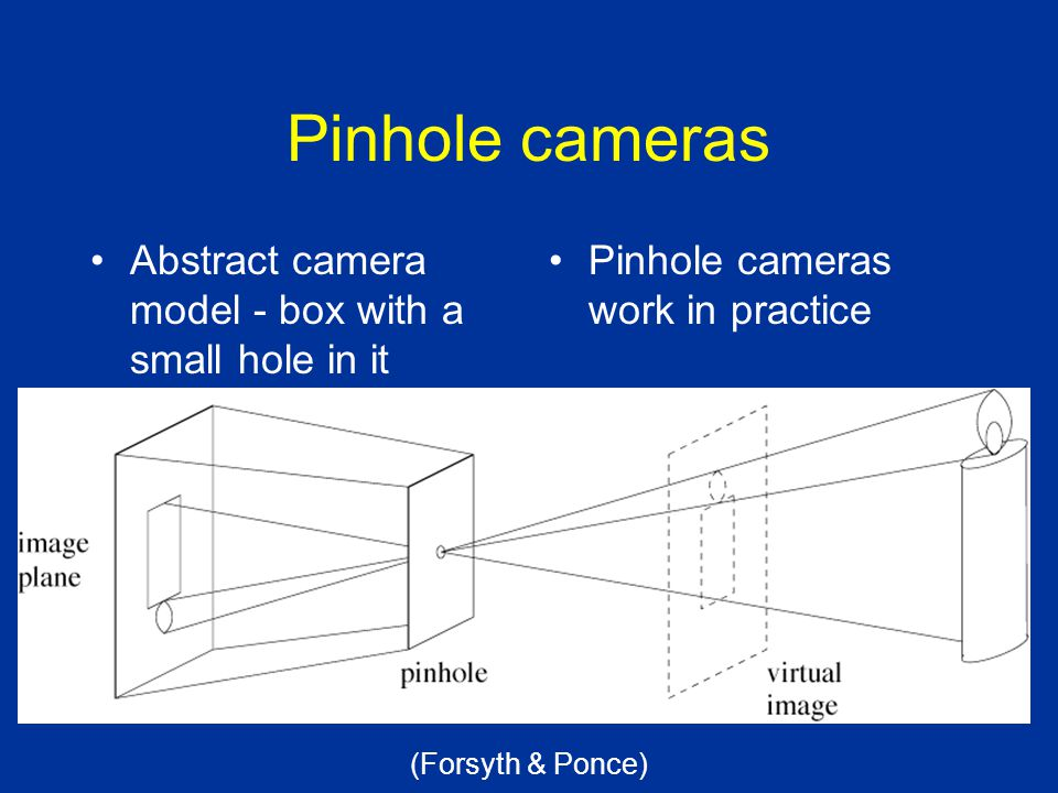 Pinhole cameras Abstract camera model - box with a small hole in it Pinhole cameras work in practice (Forsyth & Ponce)