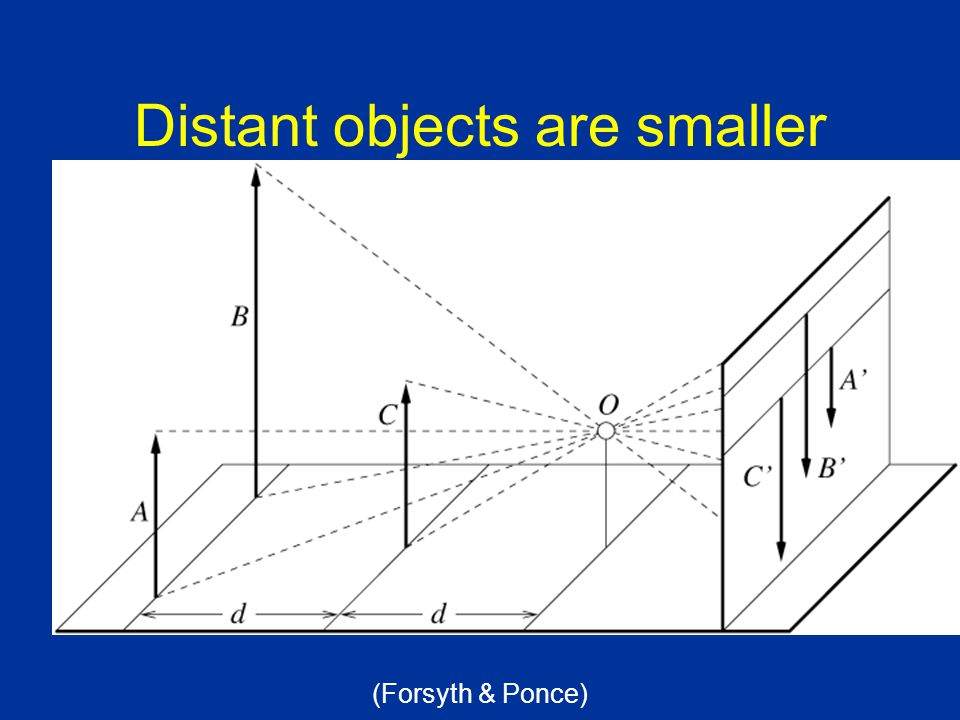 Distant objects are smaller (Forsyth & Ponce)