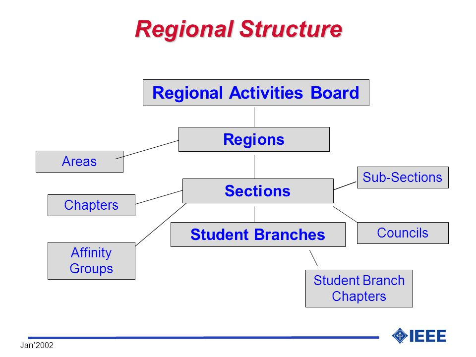 Jan'2002 Regional Structure Areas Councils Student Branch Chapters Regional Activities Board Regions Affinity Groups Sections Sub-Sections Student Branches Chapters