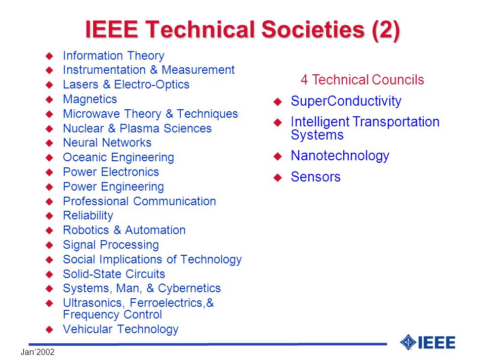 Jan'2002 IEEE Technical Societies (2) u Information Theory u Instrumentation & Measurement u Lasers & Electro-Optics u Magnetics u Microwave Theory & Techniques u Nuclear & Plasma Sciences u Neural Networks u Oceanic Engineering u Power Electronics u Power Engineering u Professional Communication u Reliability u Robotics & Automation u Signal Processing u Social Implications of Technology u Solid-State Circuits u Systems, Man, & Cybernetics u Ultrasonics, Ferroelectrics,& Frequency Control u Vehicular Technology 4 Technical Councils  SuperConductivity  Intelligent Transportation Systems  Nanotechnology  Sensors