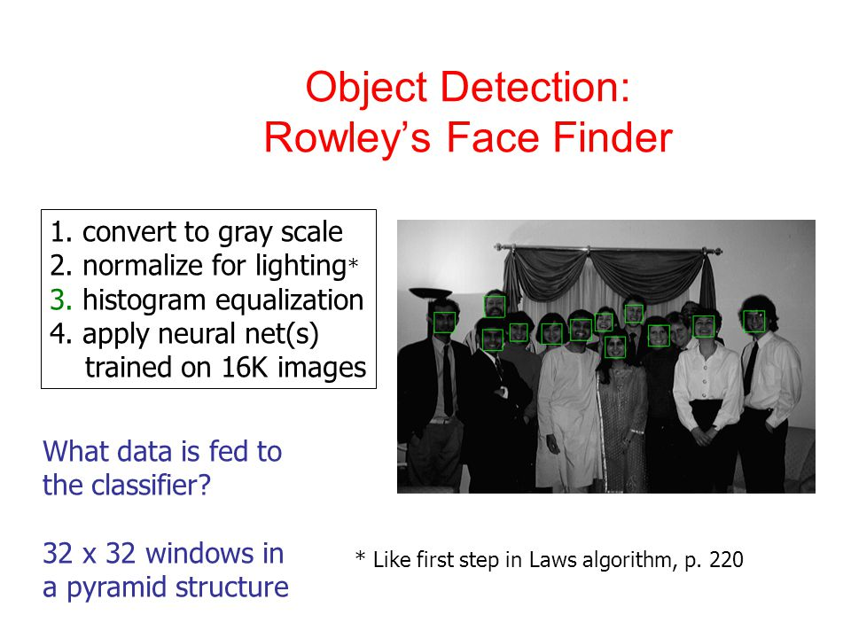 Object Detection: Rowley's Face Finder 1. convert to gray scale 2.