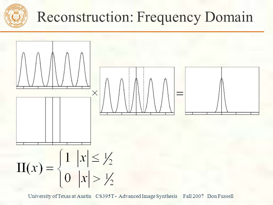 University of Texas at Austin CS395T - Advanced Image Synthesis Fall 2007 Don Fussell Reconstruction: Frequency Domain