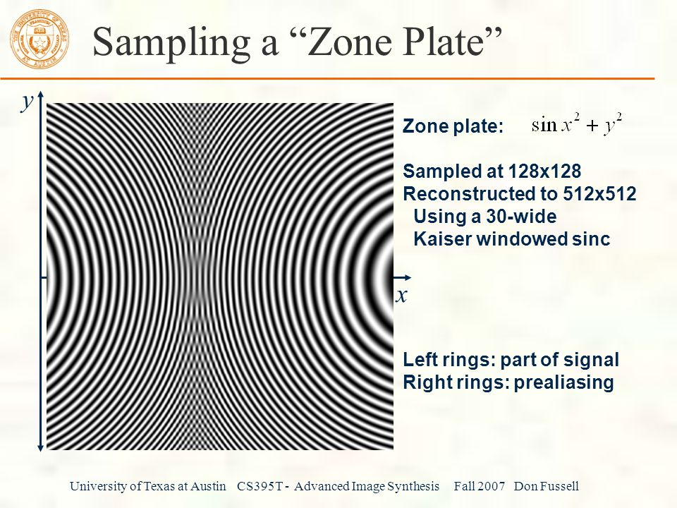 University of Texas at Austin CS395T - Advanced Image Synthesis Fall 2007 Don Fussell Sampling a Zone Plate y x Zone plate: Sampled at 128x128 Reconstructed to 512x512 Using a 30-wide Kaiser windowed sinc Left rings: part of signal Right rings: prealiasing