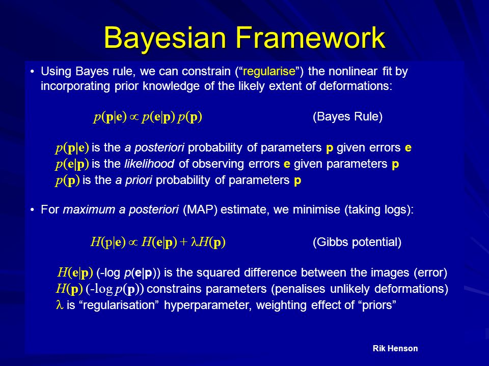 """Bayesian Framework Using Bayes rule, we can constrain (""""regularise"""") the nonlinear fit by incorporating prior knowledge of the likely extent of deform"""