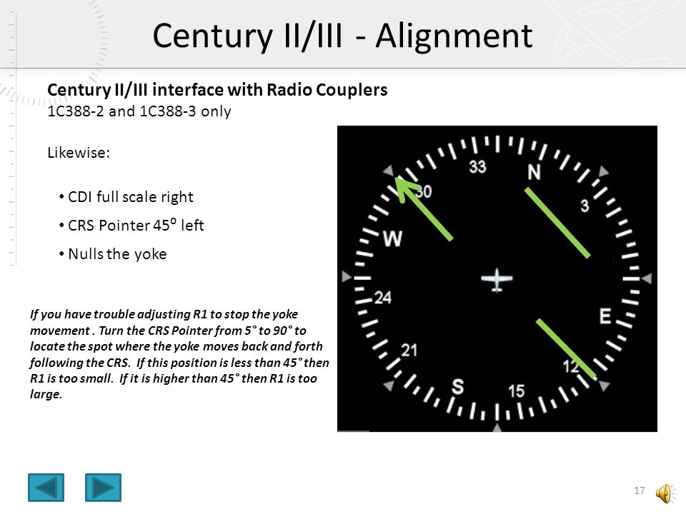 Century II/III interface with Radio Couplers 1C388-2 and 1C388-3 only These use CRS Datum input for NAV/OMNI/LOC Modes (HDG Bug position is irrelevant