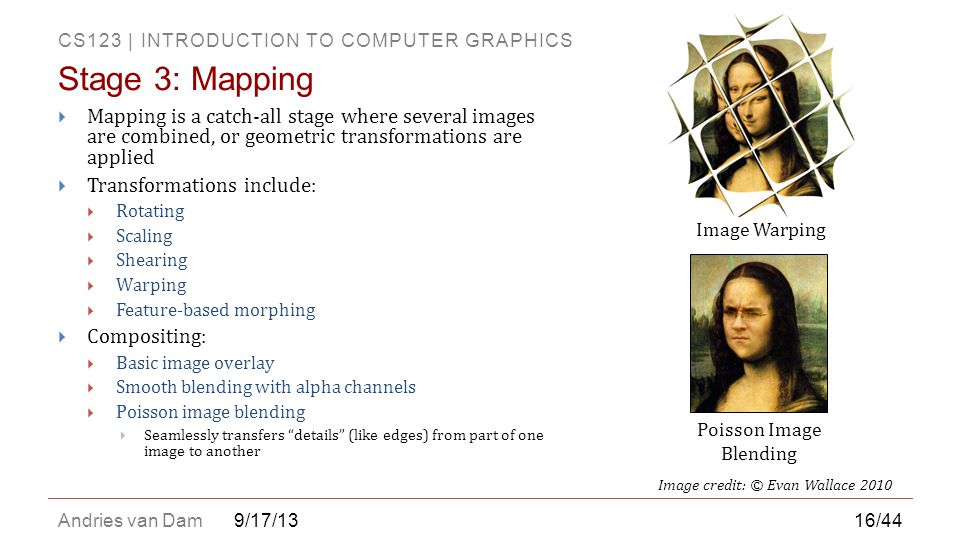 CS123 | INTRODUCTION TO COMPUTER GRAPHICS Andries van Dam9/17/13  Mapping is a catch-all stage where several images are combined, or geometric transf