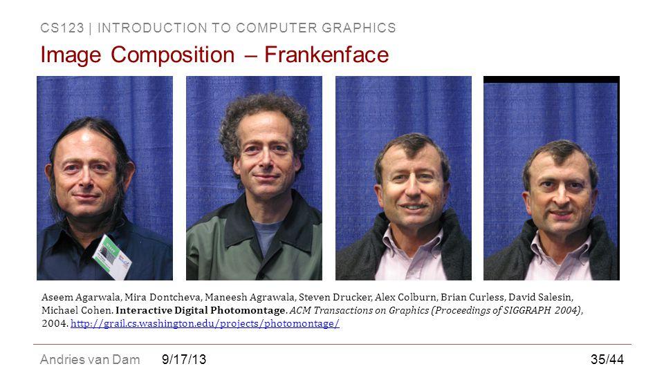 CS123 | INTRODUCTION TO COMPUTER GRAPHICS Andries van Dam9/17/13 Image Composition – Frankenface Aseem Agarwala, Mira Dontcheva, Maneesh Agrawala, Ste