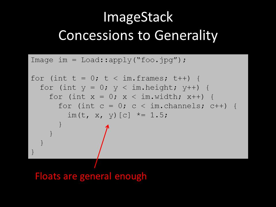 ImageStack Concessions to Generality Image im = Load::apply( foo.jpg ); for (int t = 0; t < im.frames; t++) { for (int y = 0; y < im.height; y++) { for (int x = 0; x < im.width; x++) { for (int c = 0; c < im.channels; c++) { im(t, x, y)[c] *= 1.5; } Floats are general enough