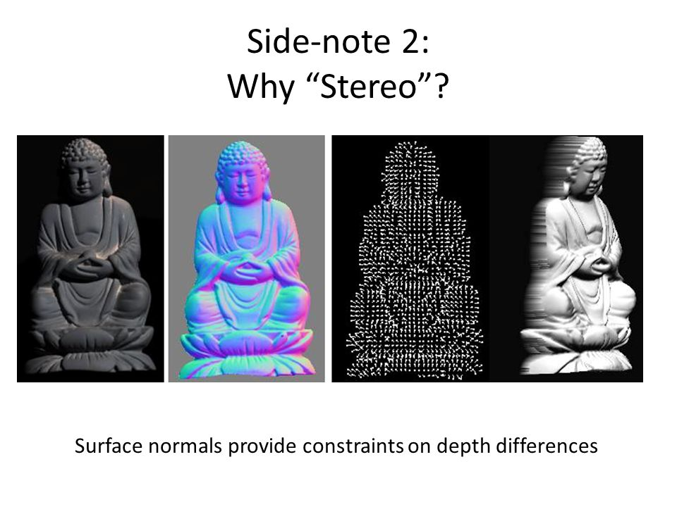 Side-note 2: Why Stereo ? Surface normals provide constraints on depth differences