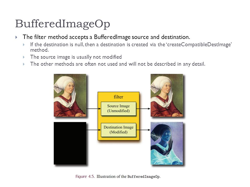 BufferedImageOp  The filter method accepts a BufferedImage source and destination.