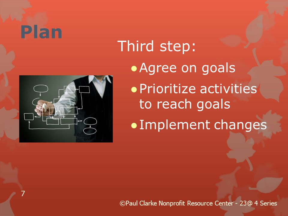 Plan Third step: ●Agree on goals ●Prioritize activities to reach goals ●Implement changes ©Paul Clarke Nonprofit Resource Center - 23@ 4 Series 7