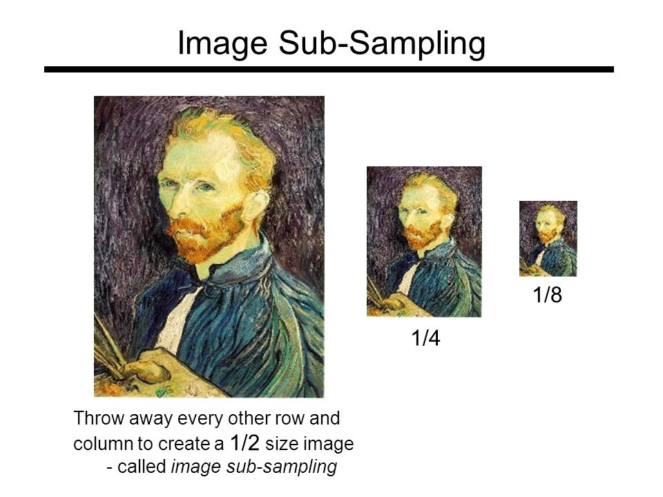 Image Sub-Sampling Throw away every other row and column to create a 1/2 size image - called image sub-sampling 1/4 1/8