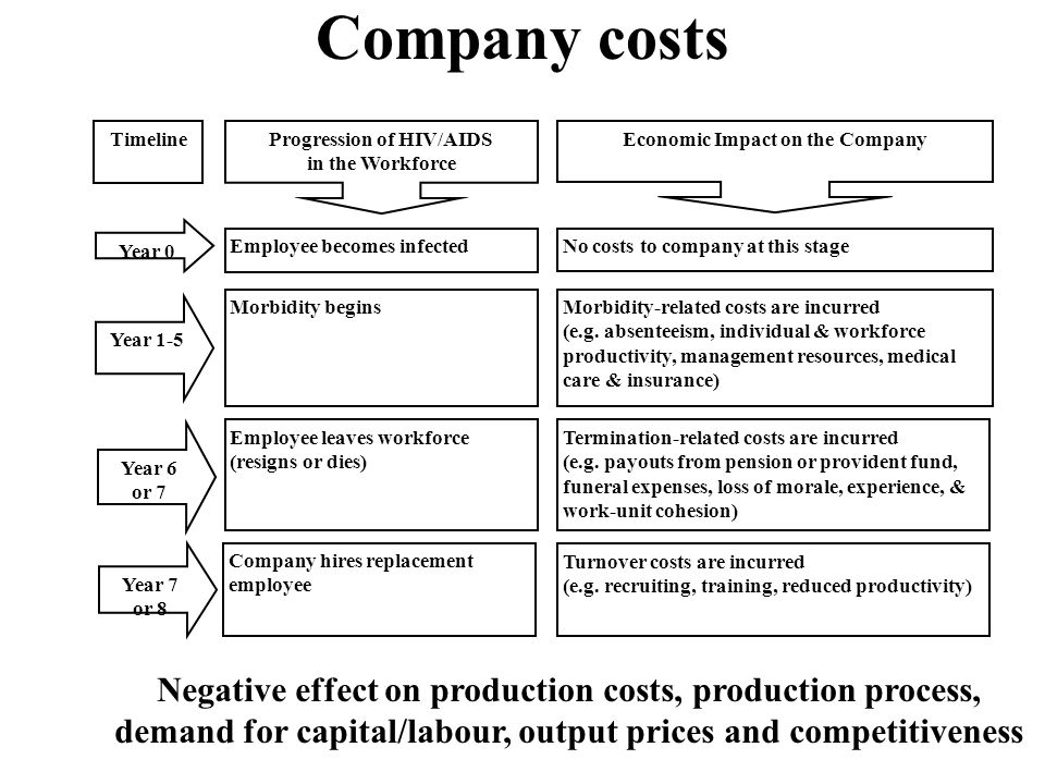 Company costs Negative effect on production costs, production process, demand for capital/labour, output prices and competitiveness Progression of HIV/AIDS in the Workforce Economic Impact on the Company Morbidity begins Employee becomes infected Employee leaves workforce (resigns or dies) Company hires replacement employee No costs to company at this stage Morbidity-related costs are incurred (e.g.