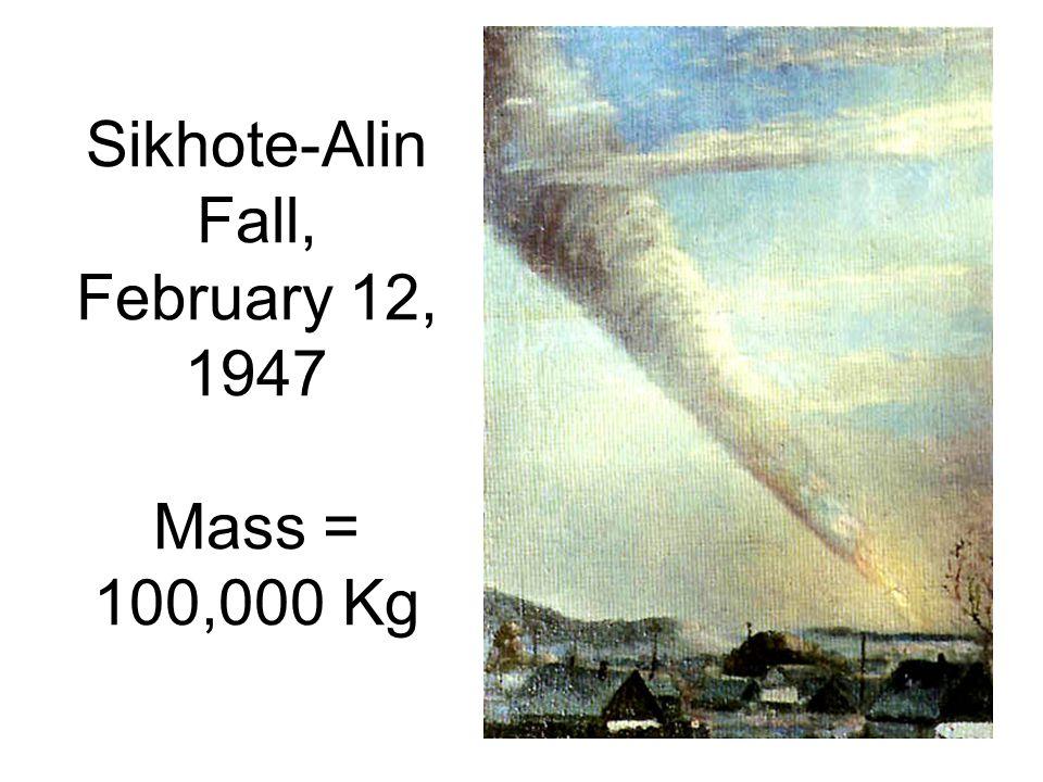 Sikhote-Alin Fall, February 12, 1947 Mass = 100,000 Kg