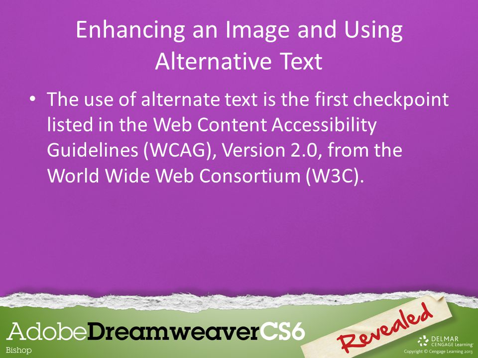 The use of alternate text is the first checkpoint listed in the Web Content Accessibility Guidelines (WCAG), Version 2.0, from the World Wide Web Consortium (W3C).