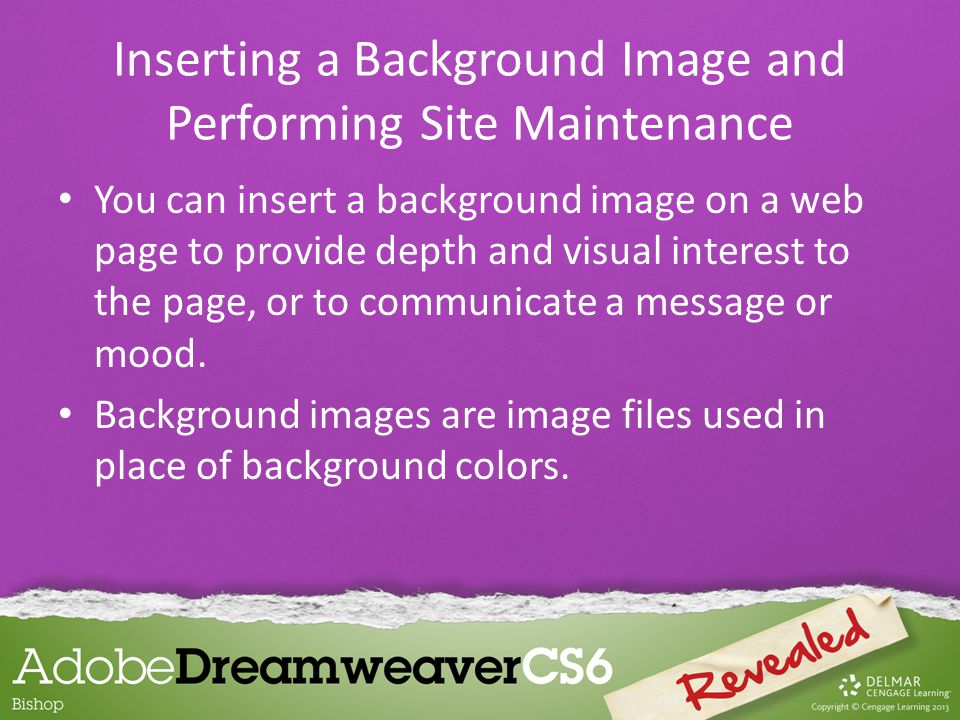 You can insert a background image on a web page to provide depth and visual interest to the page, or to communicate a message or mood.