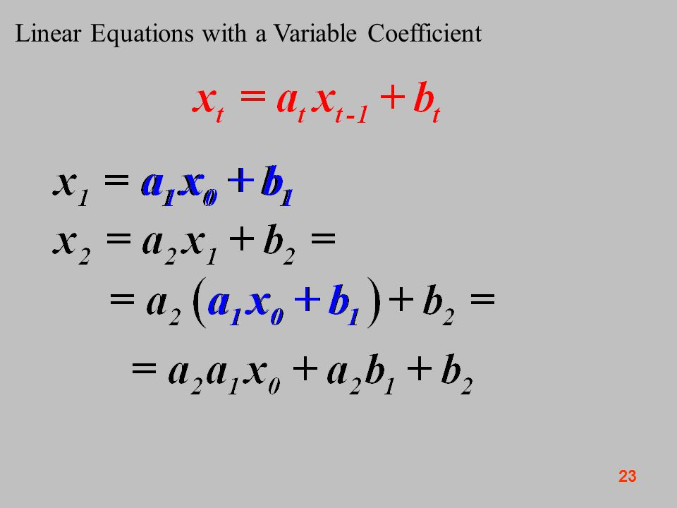 23 Linear Equations with a Variable Coefficient