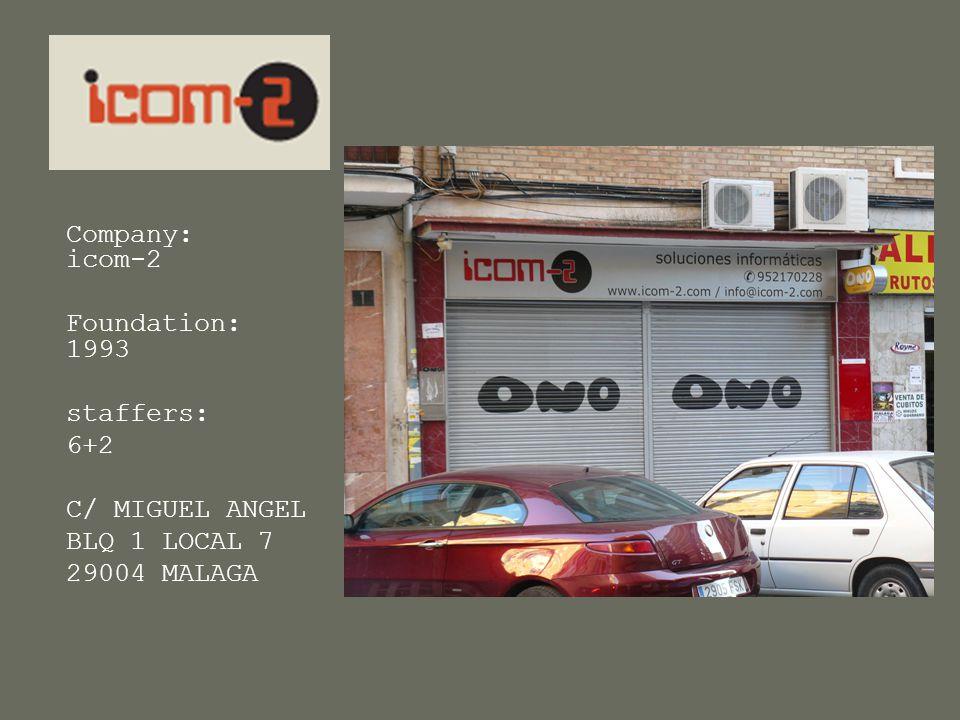 ICOM-2 Company: icom-2 Foundation: 1993 staffers: 6+2 C/ MIGUEL ANGEL BLQ 1 LOCAL 7 29004 MALAGA