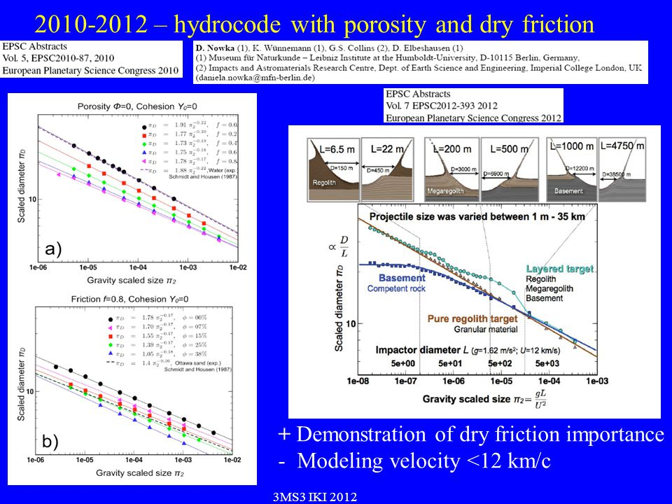 2010-2012 – hydrocode with porosity and dry friction 3MS3 IKI 2012 + Demonstration of dry friction importance - Modeling velocity <12 km/c