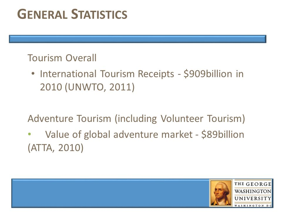 G ENERAL S TATISTICS Tourism Overall International Tourism Receipts - $909billion in 2010 (UNWTO, 2011) Adventure Tourism (including Volunteer Tourism) Value of global adventure market - $89billion (ATTA, 2010)