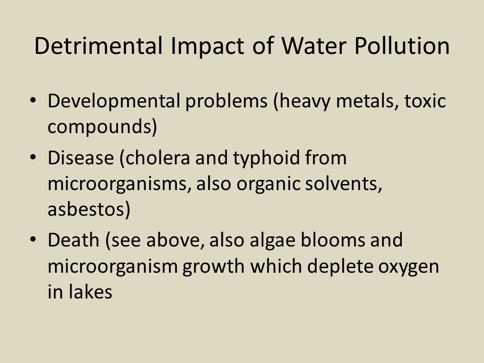 Detrimental Impact of Water Pollution Developmental problems (heavy metals, toxic compounds) Disease (cholera and typhoid from microorganisms, also or