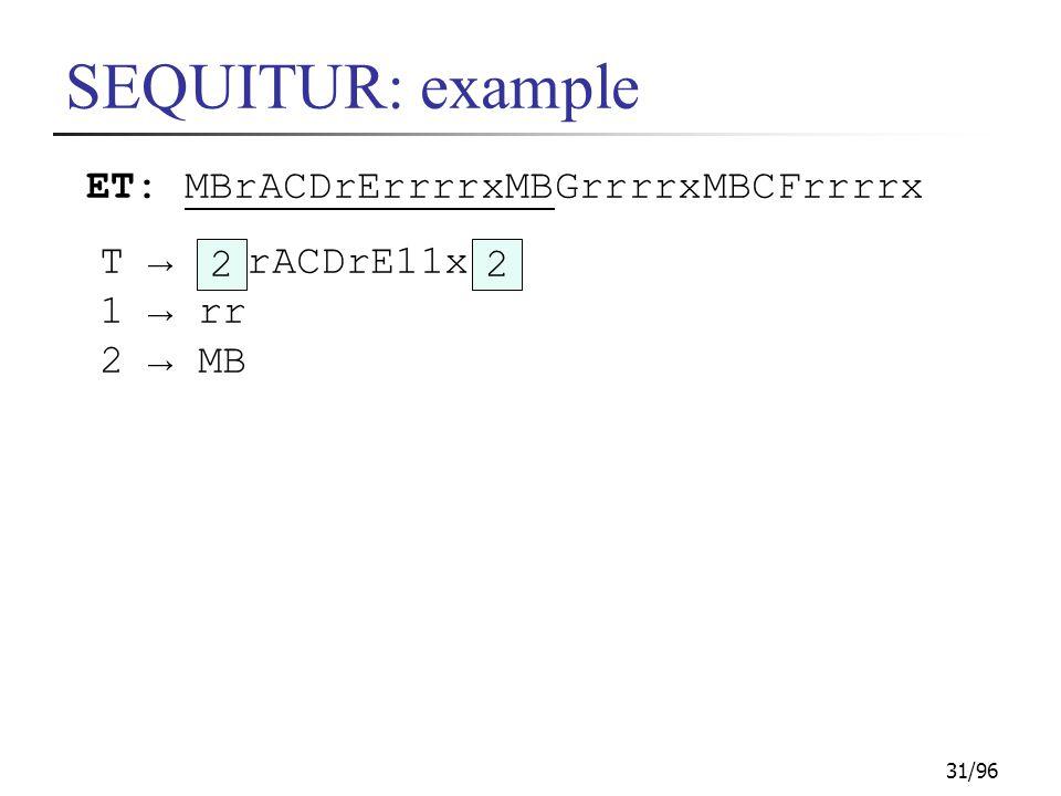 31/96 SEQUITUR: example ET: MBrACDrErrrrxMBGrrrrxMBCFrrrrx T → rACDrE11x 1 → rr 2 → MB 22