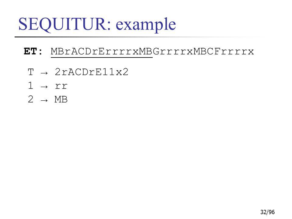 32/96 SEQUITUR: example ET: MBrACDrErrrrxMBGrrrrxMBCFrrrrx T → 2rACDrE11x2 1 → rr 2 → MB