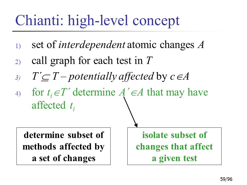 59/96 Chianti: high-level concept 1) set of interdependent atomic changes A 2) call graph for each test in T 3) T´  T – potentially affected by c  A