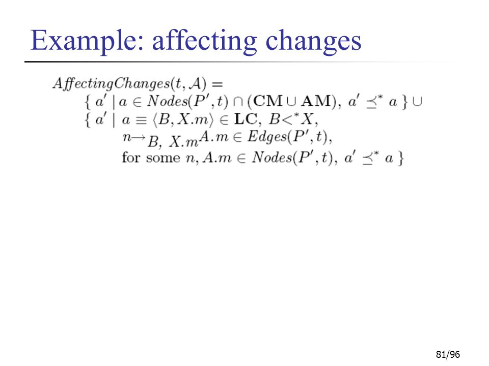 81/96 Example: affecting changes