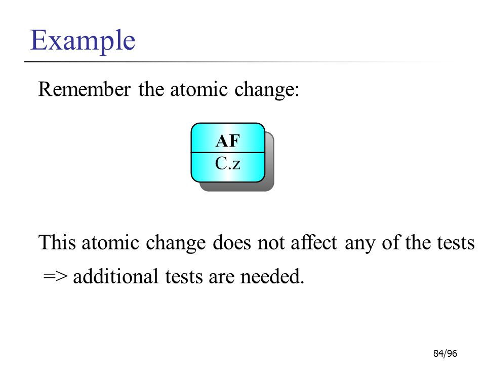 84/96 Example This atomic change does not affect any of the tests => additional tests are needed.