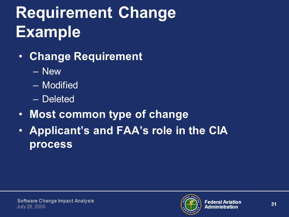 Federal Aviation Administration 31 Software Change Impact Analysis July 28, 2005 Requirement Change Example Change Requirement –New –Modified –Deleted