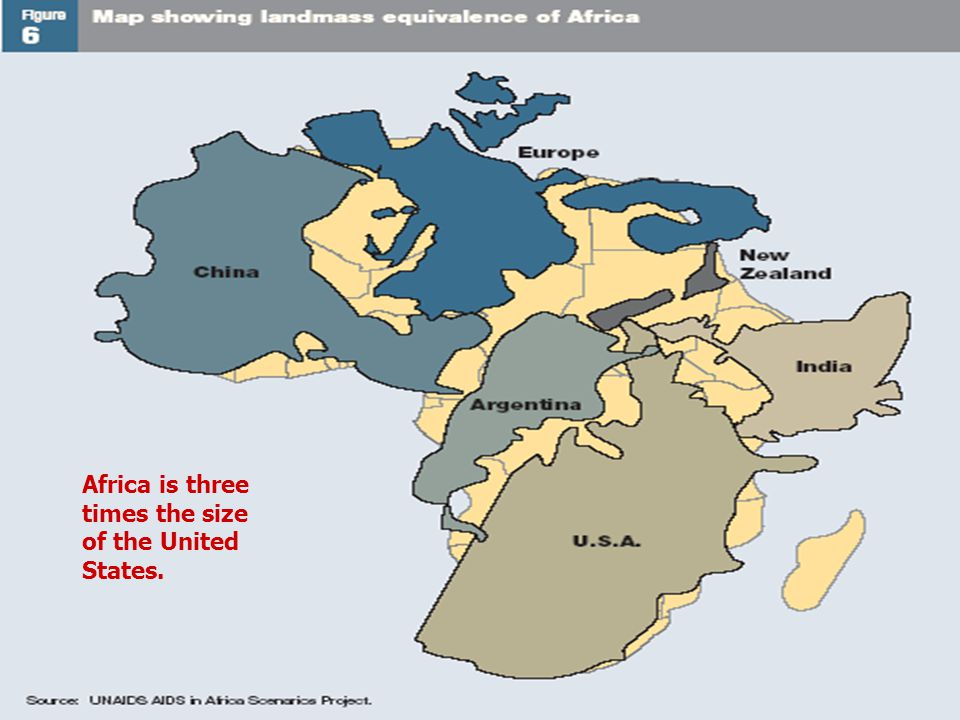 Africa is three times the size of the United States.