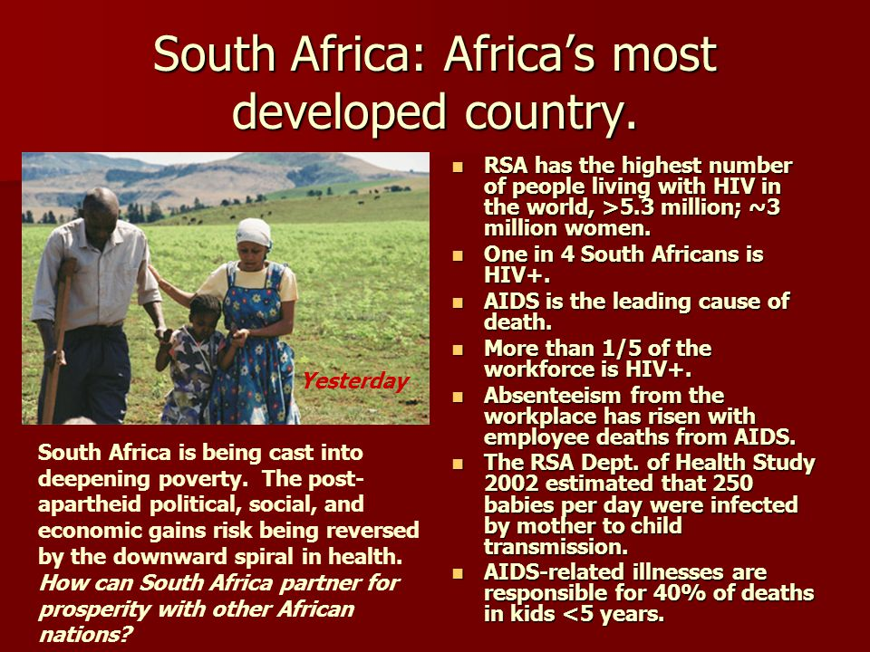 South Africa: Africa's most developed country.