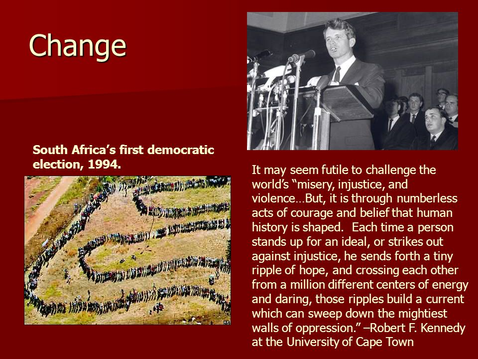 Change South Africa's first democratic election, 1994.