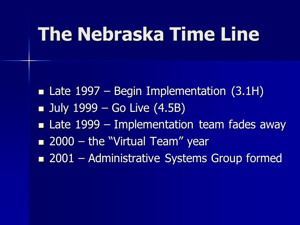The Nebraska Time Line Late 1997 – Begin Implementation (3.1H) Late 1997 – Begin Implementation (3.1H) July 1999 – Go Live (4.5B) July 1999 – Go Live (4.5B) Late 1999 – Implementation team fades away Late 1999 – Implementation team fades away 2000 – the Virtual Team year 2000 – the Virtual Team year 2001 – Administrative Systems Group formed 2001 – Administrative Systems Group formed