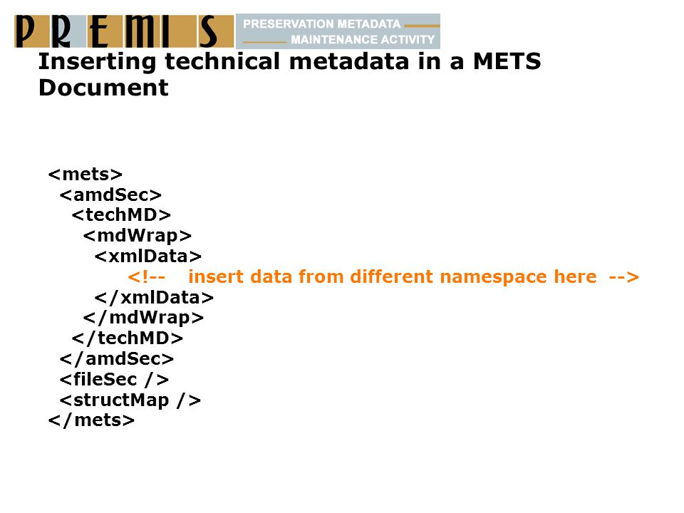 Inserting technical metadata in a METS Document