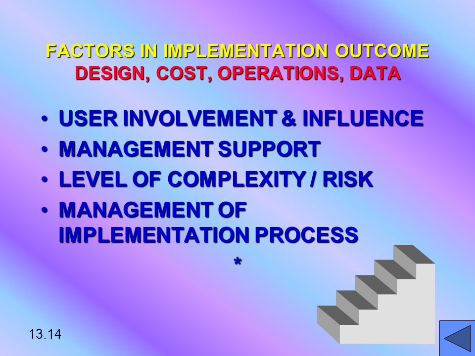 13.14 FACTORS IN IMPLEMENTATION OUTCOME DESIGN, COST, OPERATIONS, DATA USER INVOLVEMENT & INFLUENCEUSER INVOLVEMENT & INFLUENCE MANAGEMENT SUPPORTMANAGEMENT SUPPORT LEVEL OF COMPLEXITY / RISKLEVEL OF COMPLEXITY / RISK MANAGEMENT OF IMPLEMENTATION PROCESSMANAGEMENT OF IMPLEMENTATION PROCESS*