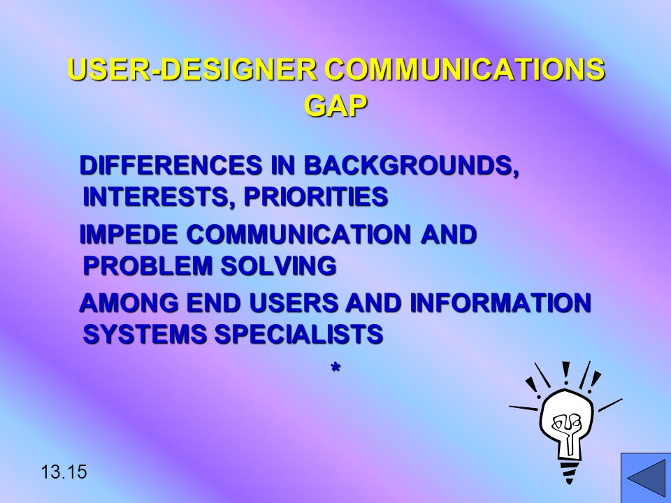 13.15 USER-DESIGNER COMMUNICATIONS GAP DIFFERENCES IN BACKGROUNDS, INTERESTS, PRIORITIES DIFFERENCES IN BACKGROUNDS, INTERESTS, PRIORITIES IMPEDE COMMUNICATION AND PROBLEM SOLVING IMPEDE COMMUNICATION AND PROBLEM SOLVING AMONG END USERS AND INFORMATION SYSTEMS SPECIALISTS AMONG END USERS AND INFORMATION SYSTEMS SPECIALISTS*