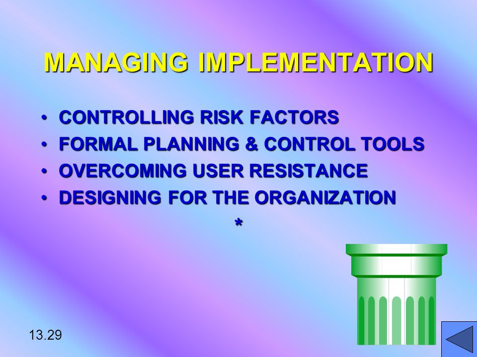 13.29 MANAGING IMPLEMENTATION CONTROLLING RISK FACTORSCONTROLLING RISK FACTORS FORMAL PLANNING & CONTROL TOOLSFORMAL PLANNING & CONTROL TOOLS OVERCOMING USER RESISTANCEOVERCOMING USER RESISTANCE DESIGNING FOR THE ORGANIZATIONDESIGNING FOR THE ORGANIZATION*