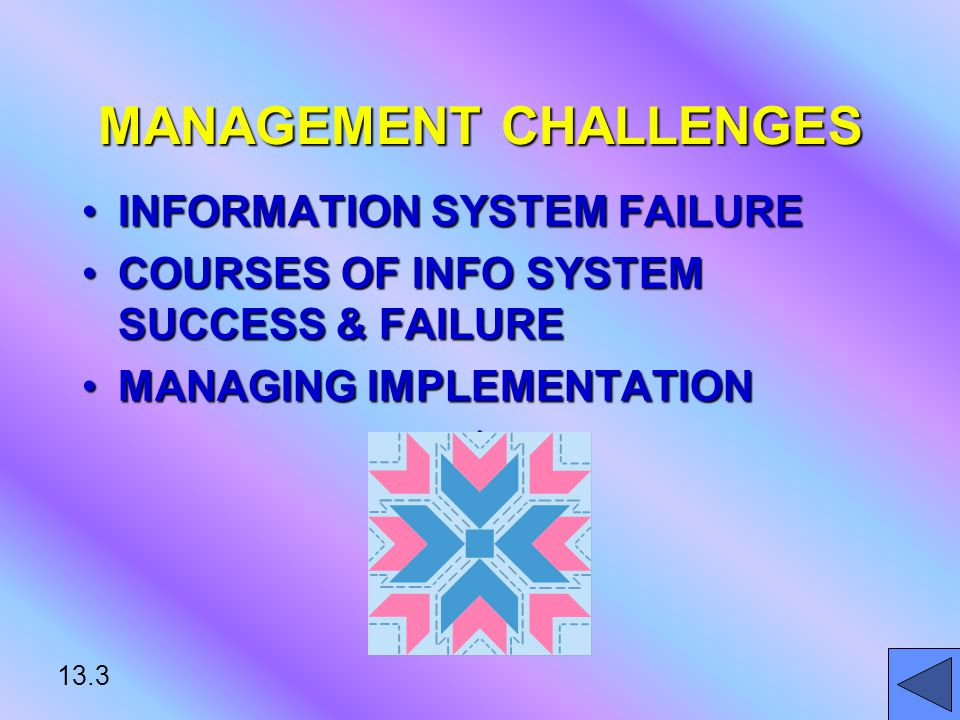 13.3 MANAGEMENT CHALLENGES INFORMATION SYSTEM FAILUREINFORMATION SYSTEM FAILURE COURSES OF INFO SYSTEM SUCCESS & FAILURECOURSES OF INFO SYSTEM SUCCESS & FAILURE MANAGING IMPLEMENTATIONMANAGING IMPLEMENTATION*