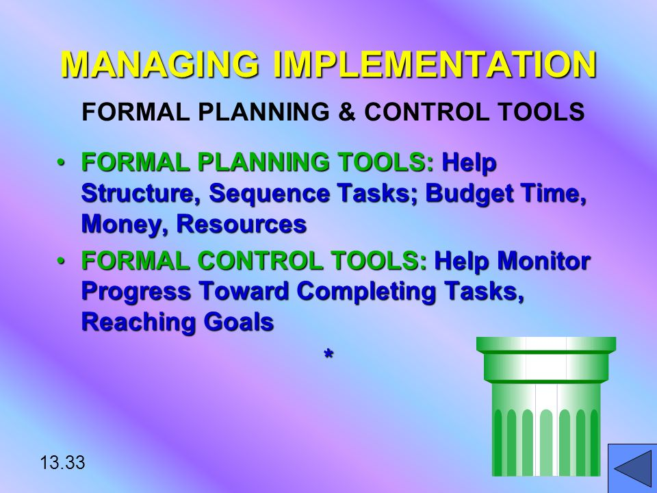 13.33 MANAGING IMPLEMENTATION MANAGING IMPLEMENTATION FORMAL PLANNING & CONTROL TOOLS FORMAL PLANNING TOOLS: Help Structure, Sequence Tasks; Budget Time, Money, ResourcesFORMAL PLANNING TOOLS: Help Structure, Sequence Tasks; Budget Time, Money, Resources FORMAL CONTROL TOOLS: Help Monitor Progress Toward Completing Tasks, Reaching GoalsFORMAL CONTROL TOOLS: Help Monitor Progress Toward Completing Tasks, Reaching Goals*