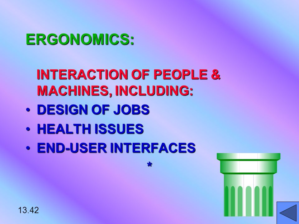 13.42 ERGONOMICS: INTERACTION OF PEOPLE & MACHINES, INCLUDING: INTERACTION OF PEOPLE & MACHINES, INCLUDING: DESIGN OF JOBSDESIGN OF JOBS HEALTH ISSUESHEALTH ISSUES END-USER INTERFACESEND-USER INTERFACES*