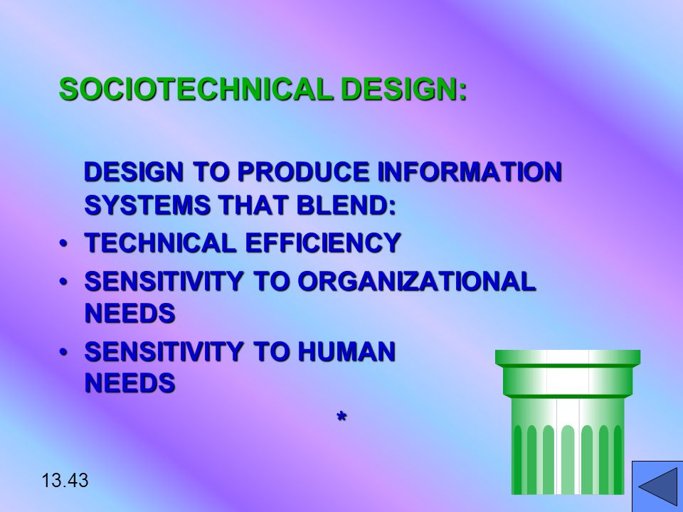 13.43 SOCIOTECHNICAL DESIGN: DESIGN TO PRODUCE INFORMATION SYSTEMS THAT BLEND: DESIGN TO PRODUCE INFORMATION SYSTEMS THAT BLEND: TECHNICAL EFFICIENCYTECHNICAL EFFICIENCY SENSITIVITY TO ORGANIZATIONAL NEEDSSENSITIVITY TO ORGANIZATIONAL NEEDS SENSITIVITY TO HUMAN NEEDSSENSITIVITY TO HUMAN NEEDS*