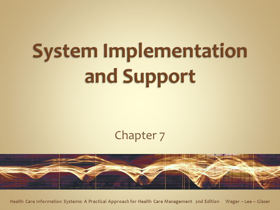Chapter 7 Health Care Information Systems: A Practical Approach for Health Care Management 2nd Edition Wager ~ Lee ~ Glaser