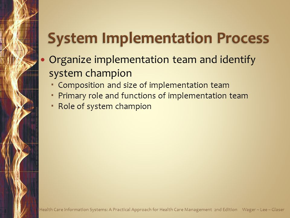 Organize implementation team and identify system champion  Composition and size of implementation team  Primary role and functions of implementation