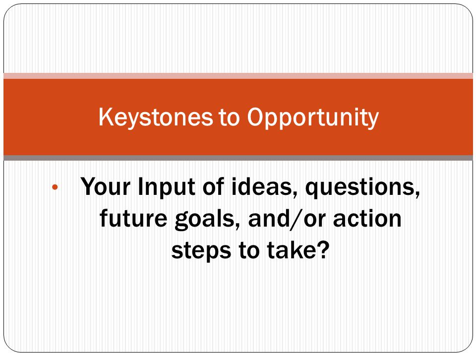 Your Input of ideas, questions, future goals, and/or action steps to take Keystones to Opportunity