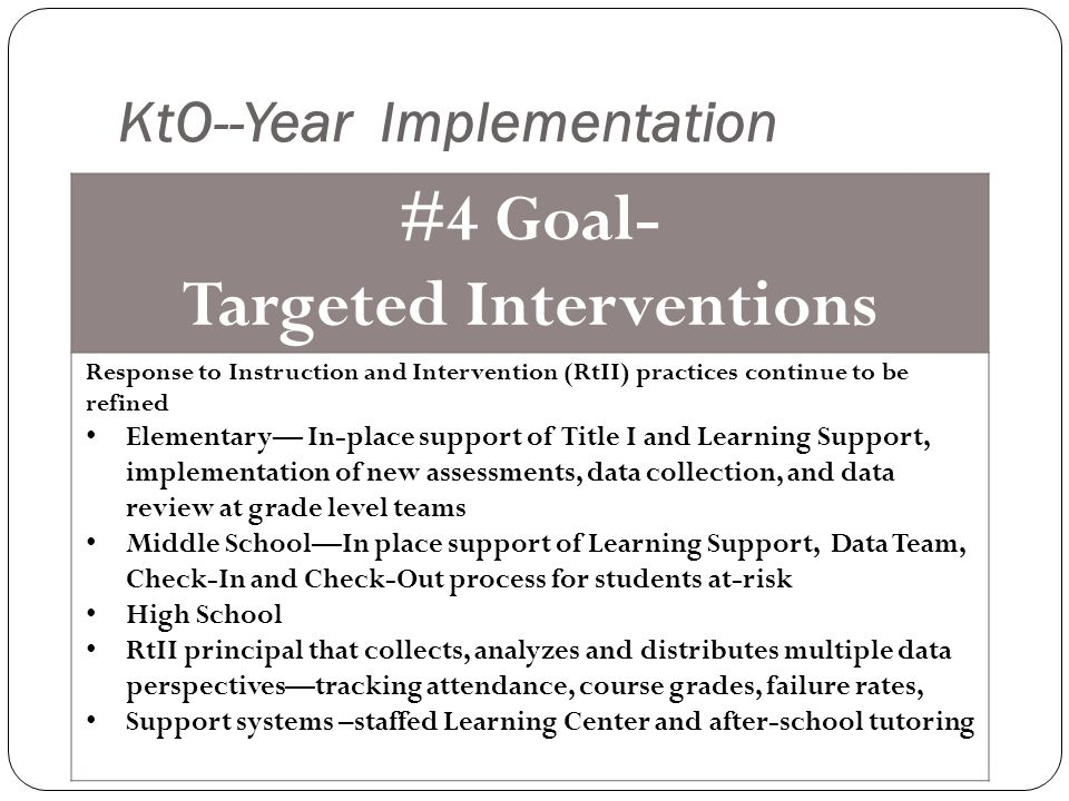 KtO--Year Implementation #4 Goal- Targeted Interventions Response to Instruction and Intervention (RtII) practices continue to be refined Elementary— In-place support of Title I and Learning Support, implementation of new assessments, data collection, and data review at grade level teams Middle School—In place support of Learning Support, Data Team, Check-In and Check-Out process for students at-risk High School RtII principal that collects, analyzes and distributes multiple data perspectives—tracking attendance, course grades, failure rates, Support systems –staffed Learning Center and after-school tutoring