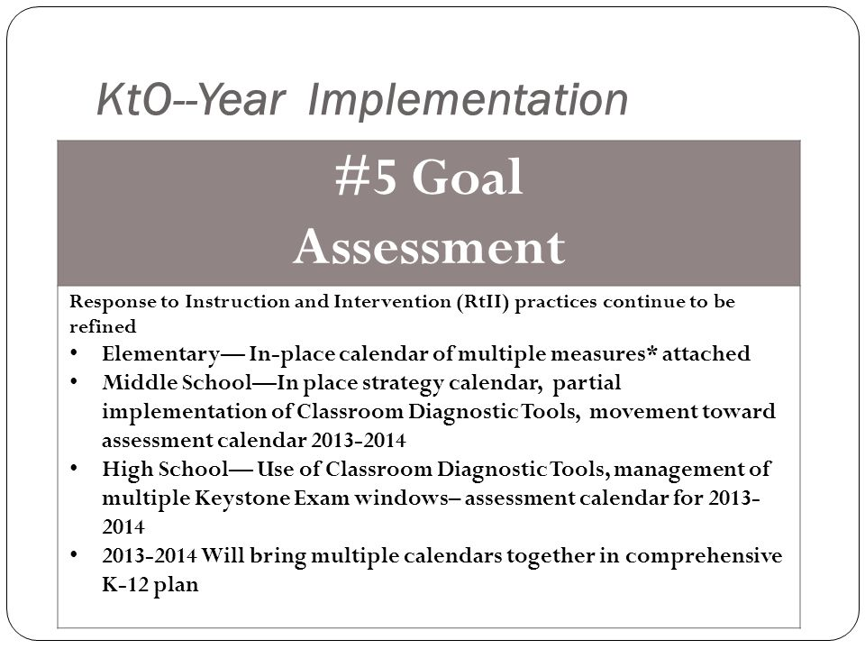 KtO--Year Implementation #5 Goal Assessment Response to Instruction and Intervention (RtII) practices continue to be refined Elementary— In-place calendar of multiple measures* attached Middle School—In place strategy calendar, partial implementation of Classroom Diagnostic Tools, movement toward assessment calendar 2013-2014 High School— Use of Classroom Diagnostic Tools, management of multiple Keystone Exam windows– assessment calendar for 2013- 2014 2013-2014 Will bring multiple calendars together in comprehensive K-12 plan