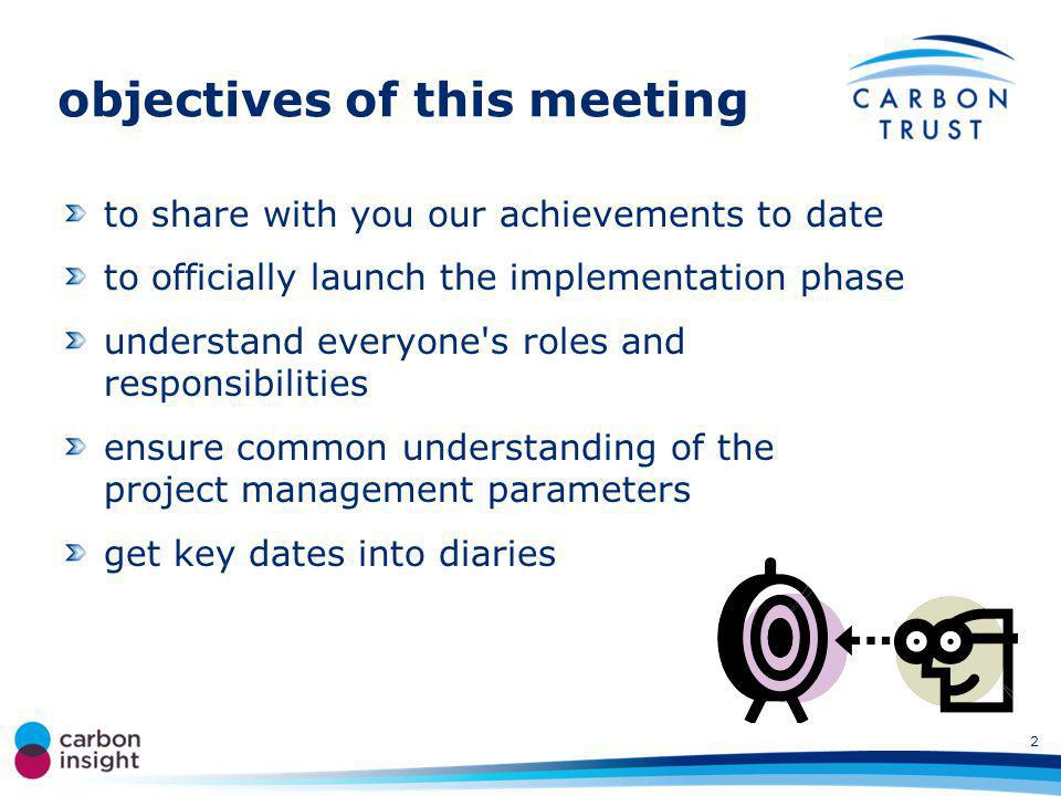 objectives of this meeting to share with you our achievements to date to officially launch the implementation phase understand everyone s roles and responsibilities ensure common understanding of the project management parameters get key dates into diaries 2