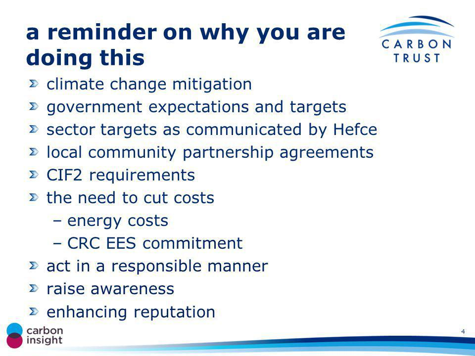 a reminder on why you are doing this climate change mitigation government expectations and targets sector targets as communicated by Hefce local community partnership agreements CIF2 requirements the need to cut costs –energy costs –CRC EES commitment act in a responsible manner raise awareness enhancing reputation 4